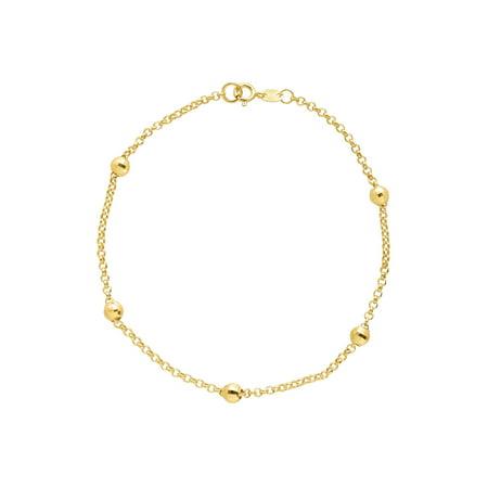 Beaded Shimmer Rolo Chain Bracelet in 10kt Gold ()