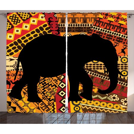 Elephant Curtains 2 Panels Set, Animal Theme Design Elephant Silhouette on Ethnic Textures Pattern Print, Window Drapes for Living Room Bedroom, 108W X 90L Inches, Brown and Black, by Ambesonne