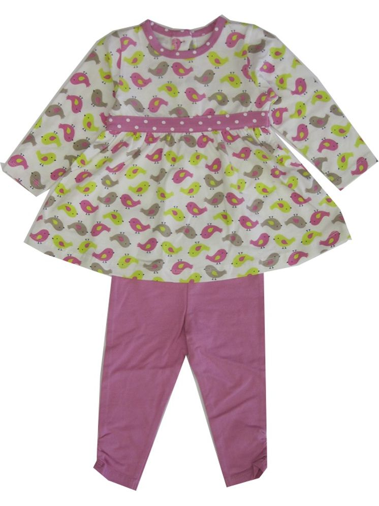 Little Me Little Girls Pink Green Chick Pattern 2 Pc Legging Outfit 2-4T