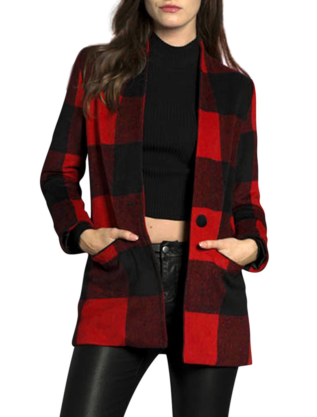 Unique Bargains Women's Checked Button Closed Worsted Coat Red (Size S / 4)