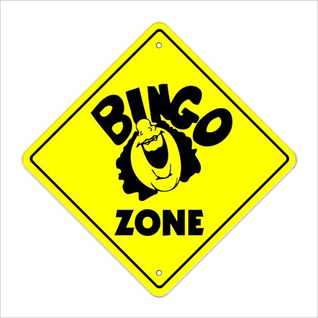 "Bingo Crossing Sign Zone Xing | Indoor/Outdoor | 14"" Tall card chips club church game time"