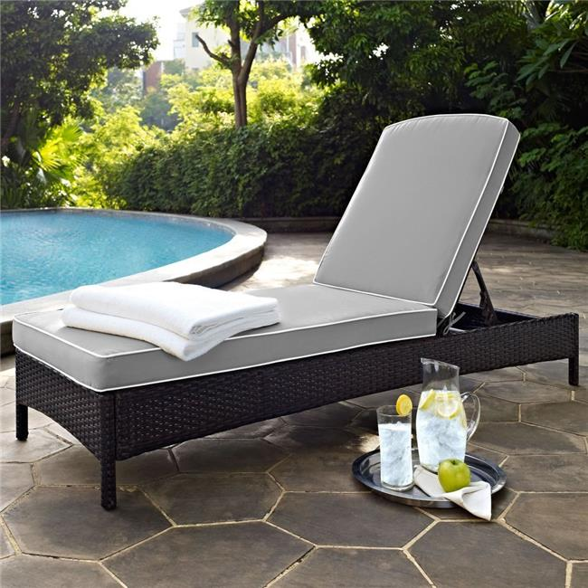 Palm Harbor Outdoor Wicker Chaise Lounge with Grey Cushions - Brown