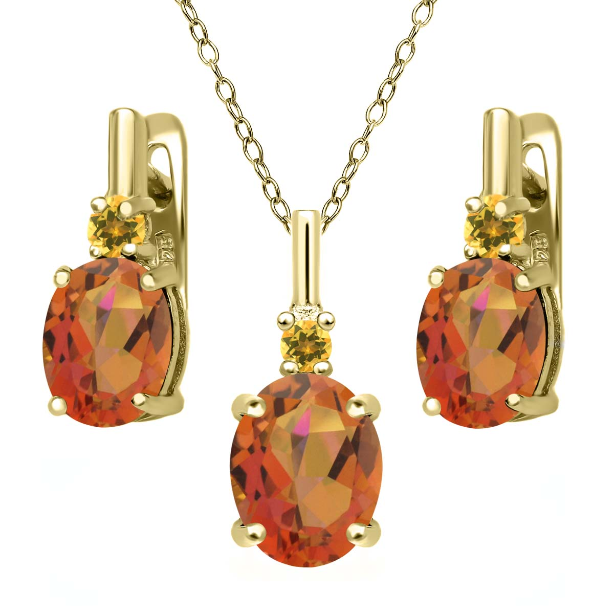 Oval Mystic Quartz Simulated Citrine 18K Gold Plated Silver Pendant Earrings Set by