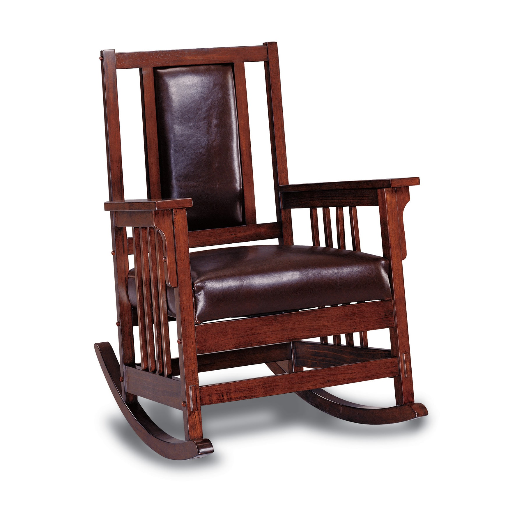 Indoor Rocking Chair Solid Wood Leather Padded Rocker Glider Rustic ...
