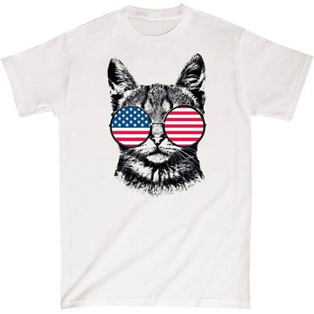 Cat USA Flag Hippie Glasses Patriotic Funny - Mens T-Shirt - Walmart ...