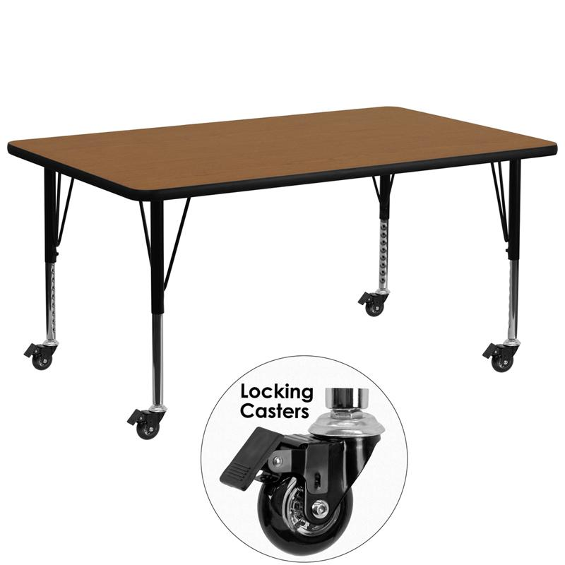 Mobile 30''W x 72''L Rectangular Oak Thermal Laminate Activity Table - Height Adjustable Short Legs