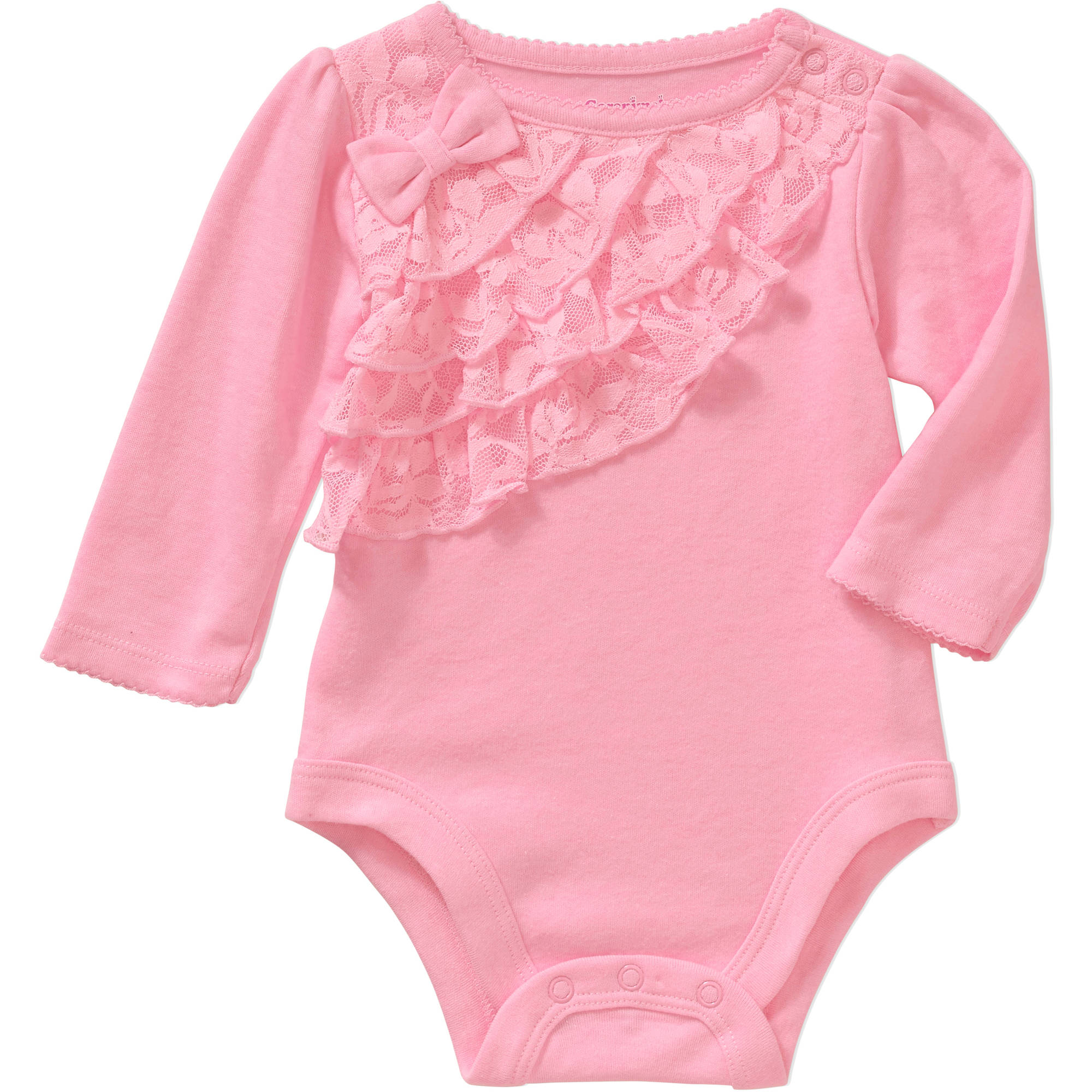 Garanimals Newborn Baby Girl Long Sleeve Lace Ruffle Bodysuit