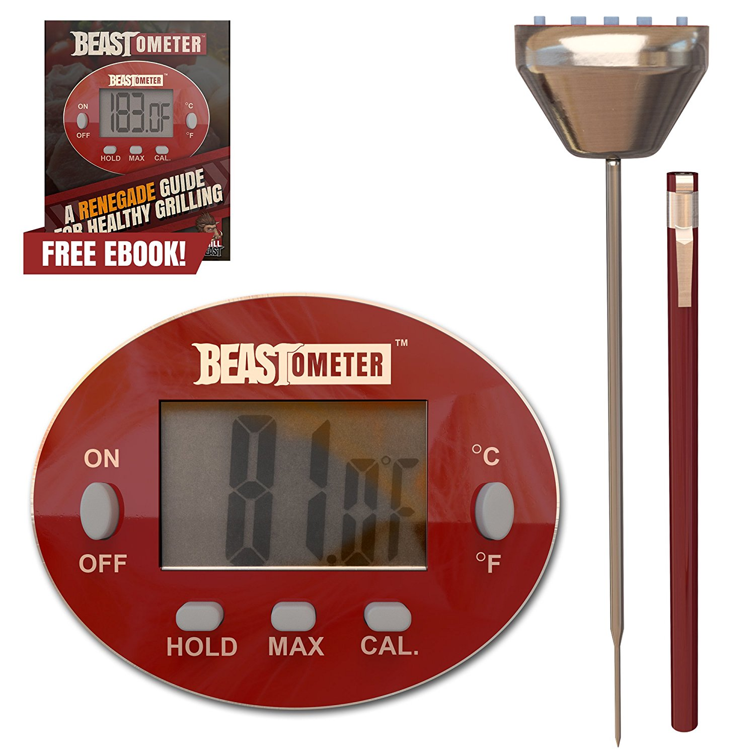 Grill Beast Digital Meat Thermometer - BBQ - Cooking - Instant Read with Stainless Steel Casing & Probe