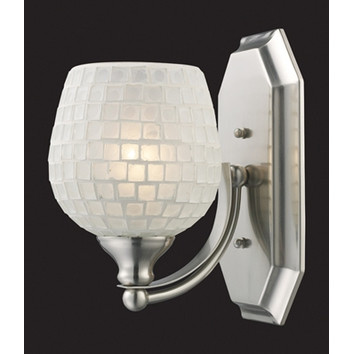 Elk Lighting 570-1B-WHT 1 Light Vanity in Aged Bronze & White Mosaic Glass