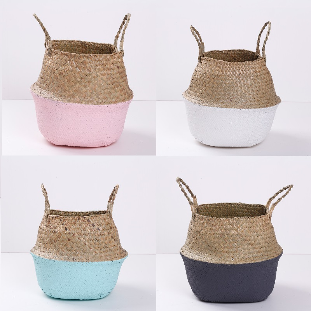 Seagrass Storage Basket Decorative Knitting Planter Cover Plant Holder Decor