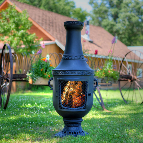 The Blue Rooster Venetian Style Aluminum Wood Burning Chiminea