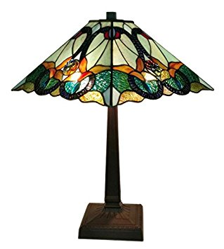 Amora Lighting AM254TL14 Tiffany Style Floral Mission Table Lamp 23 In High