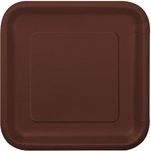 "7"" Brown Square Dessert Plates, 16pk"