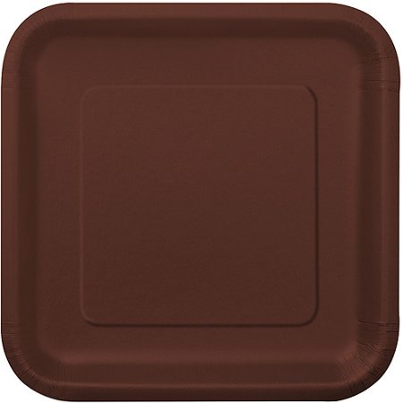 - Square Paper Plates, 7 in, Brown, 16ct