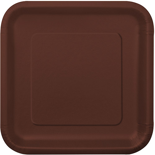 Square Paper Plates, 7 in, Brown, 16ct