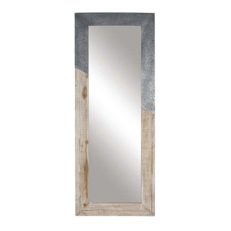 Flame Mirrors - Decmode Rustic Wood And Metal Rectangular Framed Full Glass Wall Mirror, Beige