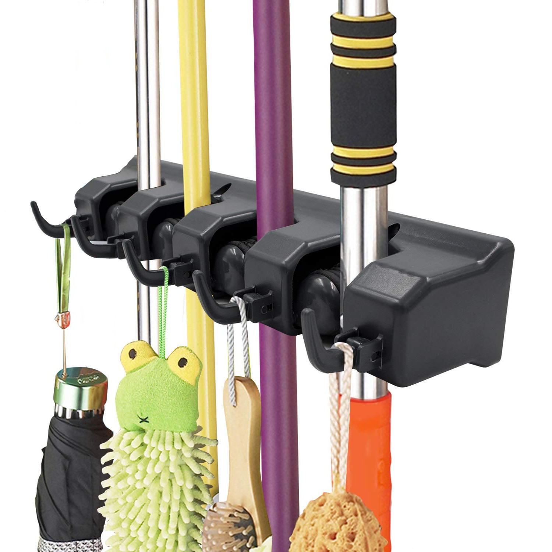 broom holder wall mount and garden tool organizer, closet storage, kitchen  rack, home organization and garage organizer for rake or mop handles