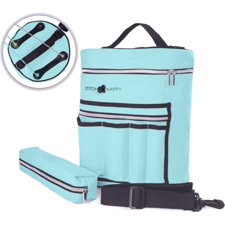Angel Blue Knitting Bag - Yarn Organizer For All Your Knitting Accessories With Bonus Crochet Hook Case, 7 Pockets + Divider for Extra Storage of Projects & Supplies - Supply Store