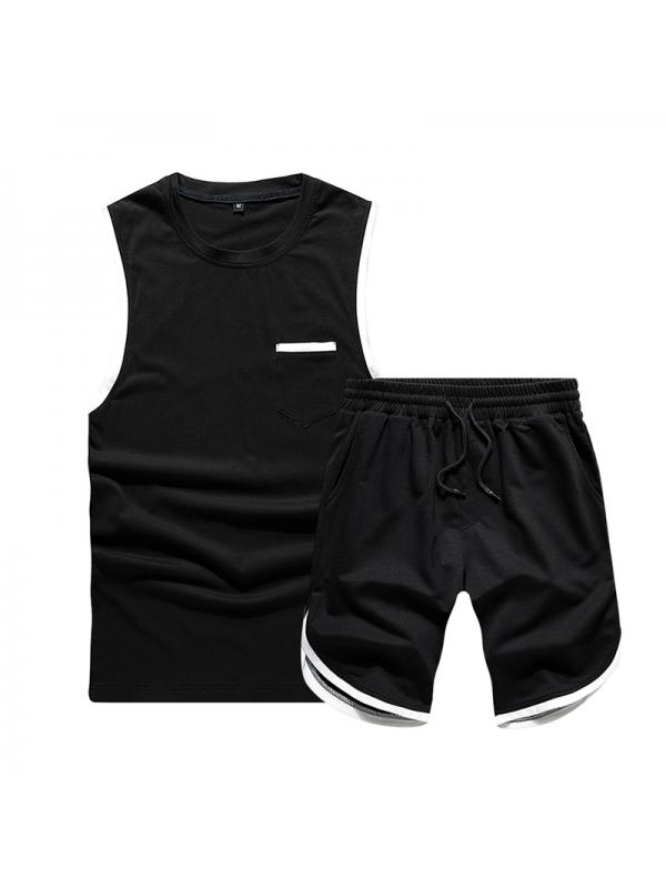 Men/'s 2PC Shorts Set Sports Jogger Short Sleeve T-Shirt and Short Pants Casual