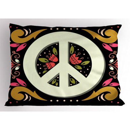 Hippie Pillow Sham Graphic Peace Sign with Flower Shapes Sixties and Seventies Pacifism Icon or Symbol, Decorative Standard Size Printed Pillowcase, 26 X 20 Inches, Multicolor, by