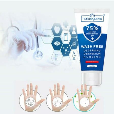 60ml Natureguess 75% alcohol sterilization gel WASH FREE degerming disinfection nursing Disposable Hand Sterilizer Cleaning hand gel - image 1 of 6