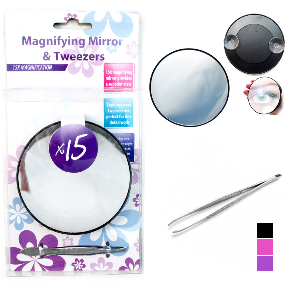 Magnifying Mirror 15x Suction Cup With Stainless Steel Tweezer Compact Makeup !