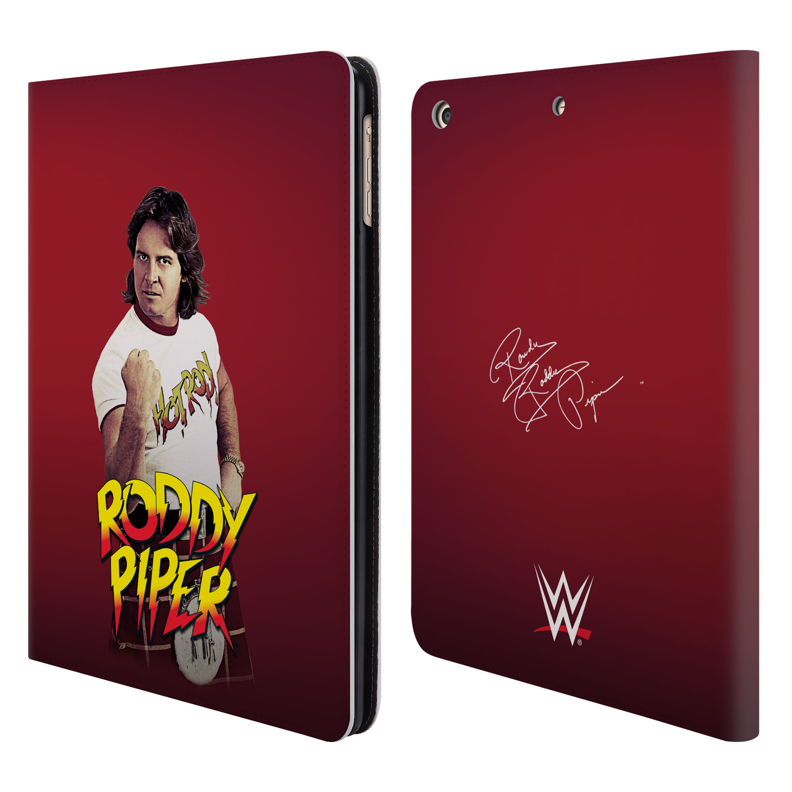 OFFICIAL WWE ROWDY RODDY PIPER LEATHER BOOK WALLET CASE COVER FOR APPLE IPAD