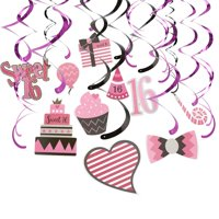 """30-Count Swirl Decorations - """"Sweet 16"""" Party Whirl Streamers - 16th Birthday Celebration Supplies, Hanging Decorations, Party Favors, Pink, Black and Purple, 35 to 37.5 inches in Length"""