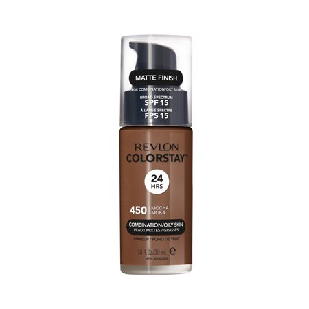 Revlon ColorStay Makeup for Combination/Oily Skin SPF 15, Longwear Liquid Foundation, Matte Finish, Oil Free, 450 Mocha, 1.0 oz