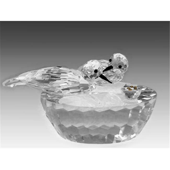 Asfour Crystal 611-65 4.33 L x 2.75 H in. Crystal Sparrows Eating Birds Figurines