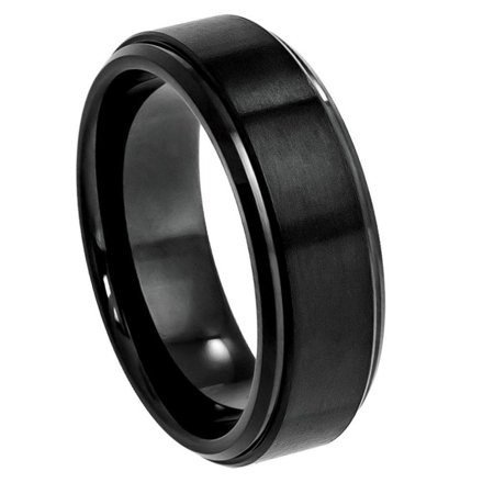 Custom Personalized Engraving Wedding Band Ring Set for Him & Her - 8mm Black IP Plated Flat Brushed Center with High Polished Stepped Edge