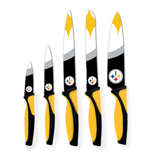 The Sports Vault NFL 5-Piece Kitchen Knife Set, Pittsburgh Steelers by Sports Vault
