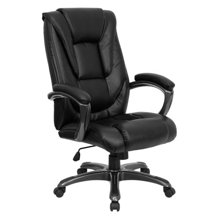 Multi-Function Leather High-Back Office Chair with Waterfall Seat, Black