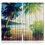green curtains for living room. Palm Trees Ocean Sealife Coastal Art Curtains for Bedroom Living Room 2  Panels