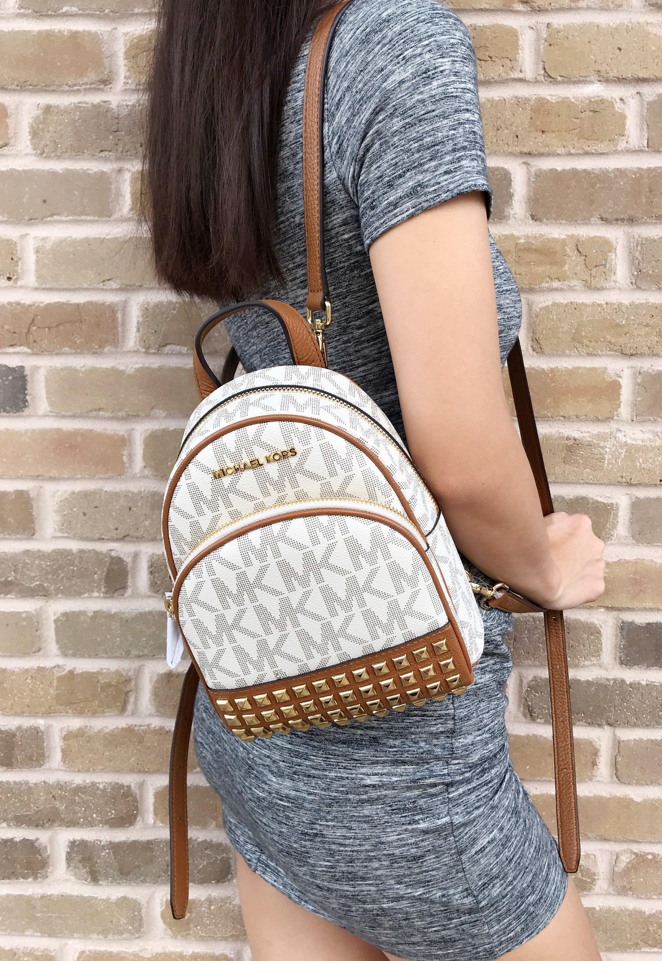 11f8098282c0 ... where can i buy nwt michael kors abbey mini backpack crossbody stud  vanilla mk acorn extra