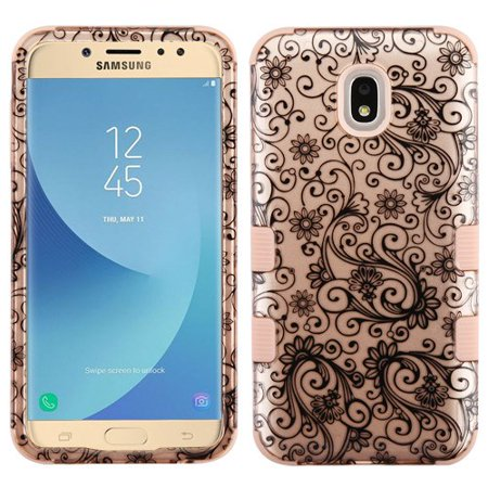 Leaf Phone Cover - LG Stylo 4 Phone Case Tuff Hybrid Shockproof Impact Rubber Dual Layer Hard Soft Protective Hard Case Cover Rose Gold Four Leaf Flowers Phone Case for LG Stylo 4