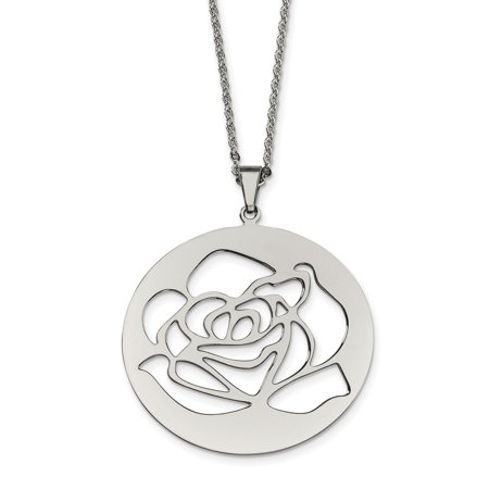Stainless Steel Rose Cutout Pendant Necklace 22in - image 3 of 3