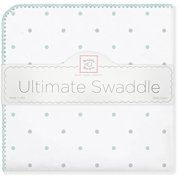 swaddledesigns ultimate winter swaddle, x-large receiving blanket, made in usa, premium cotton flannel, seacrystal dots (mom's choice award winner)