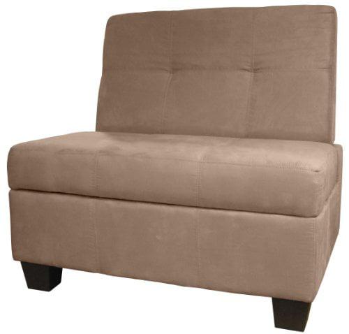 Epic Furnishings Butler Microfiber Upholstered Tufted Padded Hinged