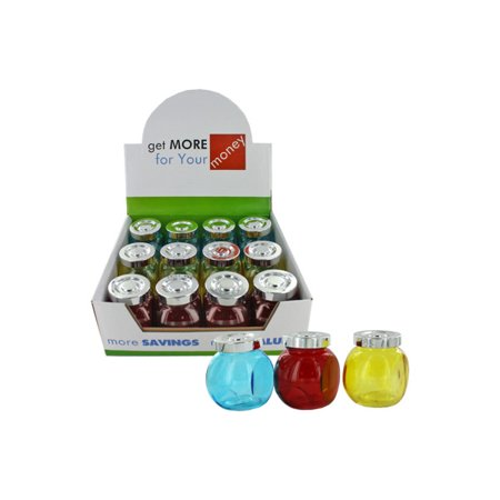 Colored Jars - Colored Glass Jars With Twist Lids Countertop Display (Pack Of 12)