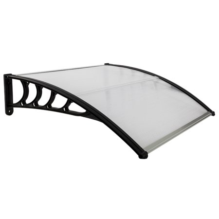 """Top Knobs 40""""x 40"""" Outdoor Door Window Awning Canopy Patio Cover Rain Snow Protection One-Piece Polycarbonate Hollow Sheet, Black"""
