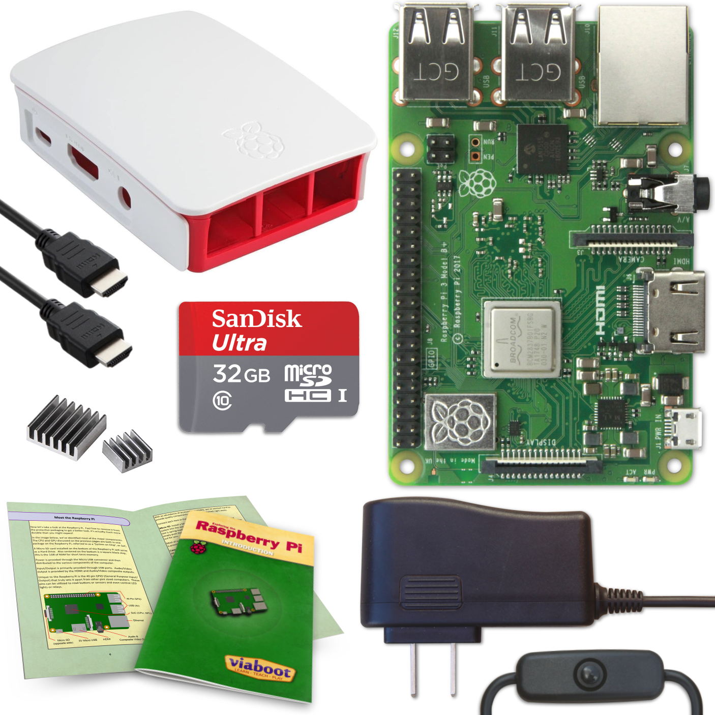 Viaboot Raspberry Pi 3 B+ Complete Kit with Premium Black Case