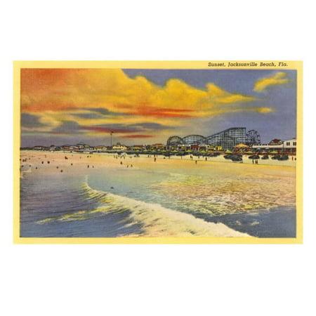 Sunset, Jacksonville Beach, Florida Print Wall Art (Halloween Jacksonville Florida)