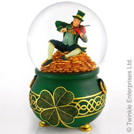 Leprechaun Rainbows End , A Pot of Gold. Snow Water globe. Rotates and Blows Glitter when it plays