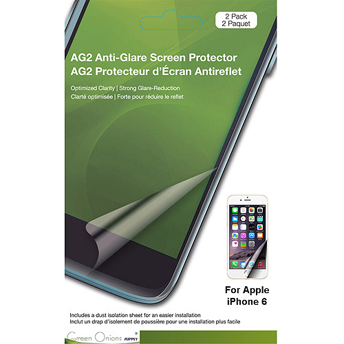 Green Onions Supply AG2 Anti-Glare Screen Protector For Apple iPhone 6 & 6S, 2pk