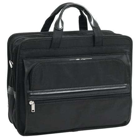 McKlein ELSTON, Nylon Double Compartment Laptop Briefcase, Tech-Lite Ballistic Nylon, Black