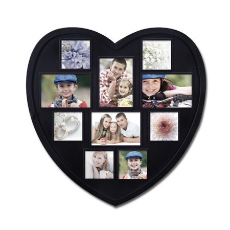 Adeco Trading 10 Opening Decorative Heart Shaped Wall Hanging Picture Frame (Heart Shaped Pic Frame)