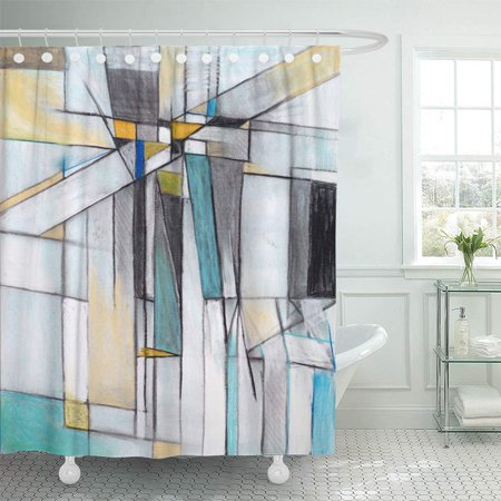PKNMT Green Modern Charcoal and Pastel Study for Abstract Painting Contemporary Geometric Shower Curtain Bath Curtain 66x72 inch