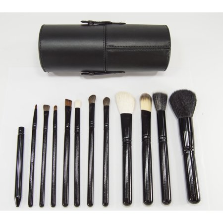 12 PCS Professional Makeup Brush Set Cosmetic Brushes Cup Holder Leather Case By, Total 12 professional makeup brushes including Powder Brush,.., By Electronix