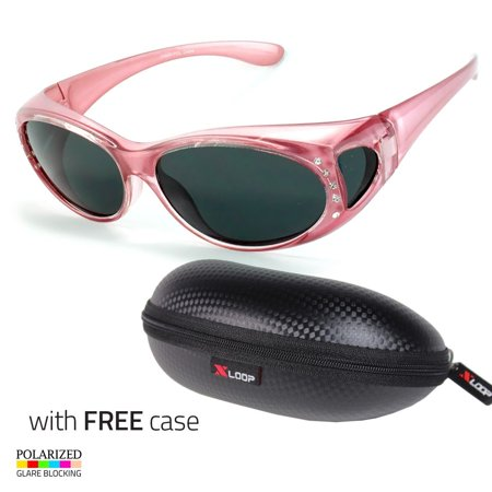 POLARIZED Rhinestone cover put over Sunglasses wear Rx glass fit driving Pink (Shades Over Glasses)